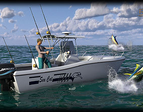 Sea Cat Center Console Outboard Fishing Boat 3D model