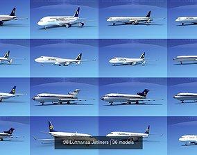 3D model 36 Lufthansa Jetliners