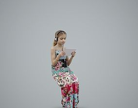 3D Casual Girl with Headphones and Tablet