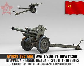 3D asset Low Poly M1938 M30 122mm Soviet howitzer