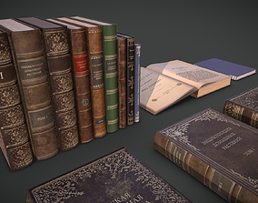 Old Books Collection 3D model