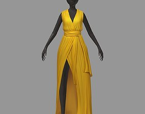 women summer long yellow dress white high heel 3D model