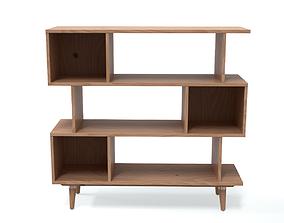 3D model Aikens Wooden Bookcase Oak finish