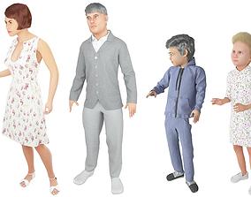 Family 4x models real cloth simulation conversation 3D 2