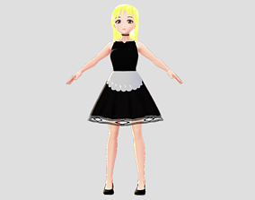 WENDY MAID 3D MODEL CHARACTER RIGGED T-POSE SHAPE rigged 1