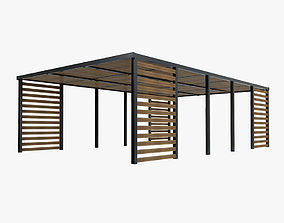Wood patio sunshade 3D