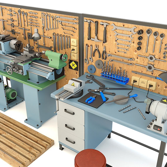 Industrial workbench garage tools and turning machine - Collection