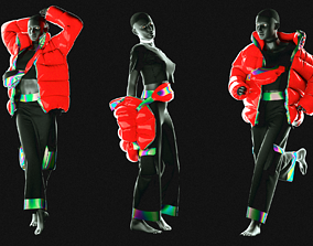 3D model Puffer Jacket cargopants fannypack female 2