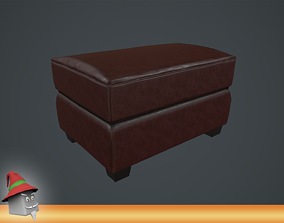 Leather Ottoman Chair Real-time PBR VR 3D model