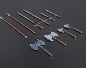 3D asset Swords - low and high poly - game ready