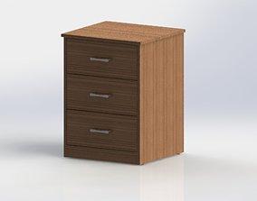 3D model Nightstand V1 - 3 Drawers