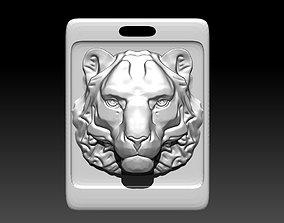 3D printable model Animal Cat Tiger Lion Puma Pendant Sqr
