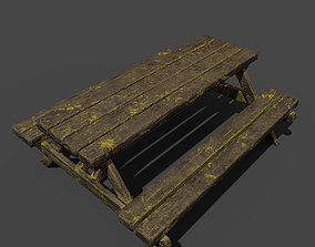 3D model old table chair