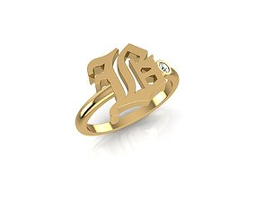 3D printable model - Old English font ring B