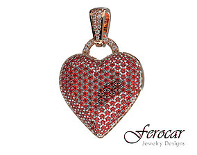 Diamonds Bubble Heart Pendant Hip hop 3D printable model