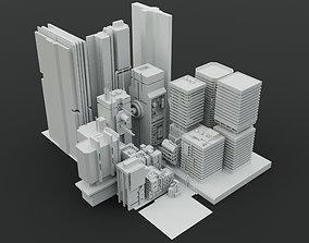 3D model Lowpoly Cyberpunk city