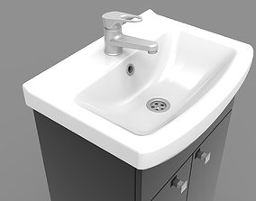 Sink Cabinet chrome 3D model