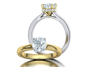 Classic Engagement ring 3dmodel with 1ct stone