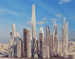 8 futuristic building 3D model