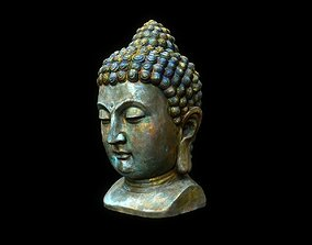Buddha head 3D model game-ready