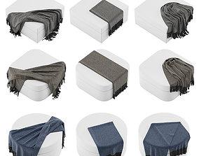 Plaid throw blanket set 01 3D