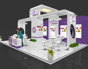 Exhibition stall 3d model 9x6 mtr 3 sides open Pharma