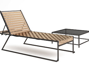 3D Stephen Kenn Sk pool chaise lounge and Sk coffee table