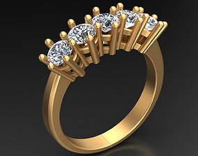 Five Stone Diamond Wedding Engagement Gold 3D print model