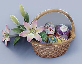 low-poly Easter Basket 3D Model