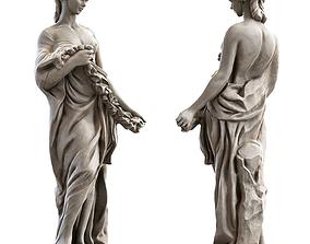 3D asset low-poly PBR Woman Sculpture