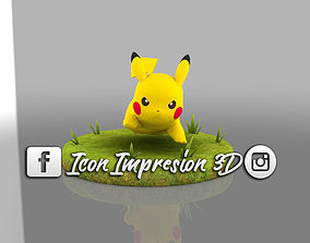 3D Pokemon picachu con base