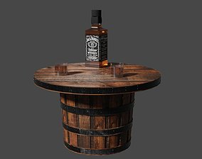 Whiskey Barrel Table 3D model realtime