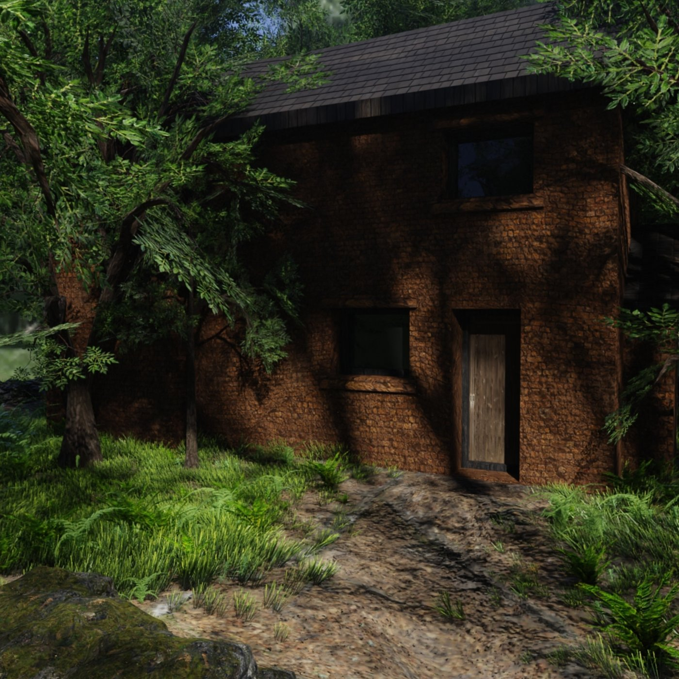 House in Forest Scene