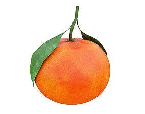 juicy Tangerine with leaves 3D model