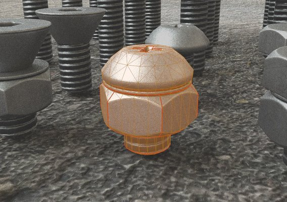Low-poly Nut and Bolt Package 4 Basic Version