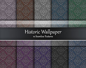 Historic Wallpaper Seamless Textures Set 3D model
