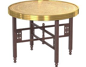 3D Brass Embossed Tray Table with Arabic Calligraphy