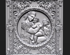 3D printable model Madonna of the chair bas relief for