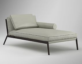 White Leather Lounge Chair 3D model