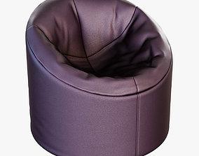 Soft brown Faux leather pouf 3D