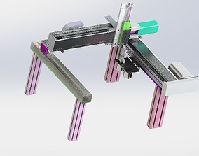 three-axis screw rod module 3D model