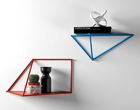 3D model Shelves Composition with Vases Book and Cactus