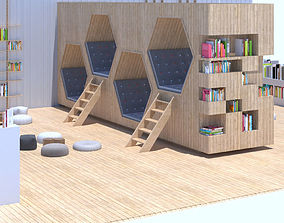3D model Children reading area set