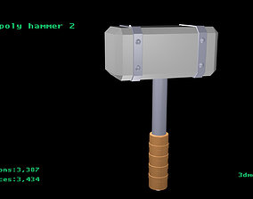 Low poly hammer 2 3D model