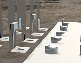 WC Toilet Seats Pack 18 Unique For Bathroom 3D asset