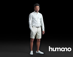 3D model Humano Black man standing and looking 0515