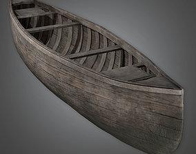 ATT - Old Dark Wood Canoe Antiques - PBR Game 3D model
