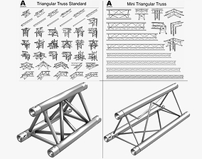 3D model Triangular Trusses Collection - 55 PCS Modular