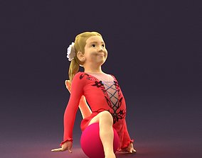 Gymnastics girl in pink 0442 3D print ready