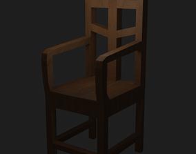 Wooden Chair for decouration 3D asset